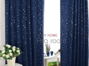 韩国进口代购 深蓝色小星星遮光窗帘成品窗帘k134-n,窗帘,