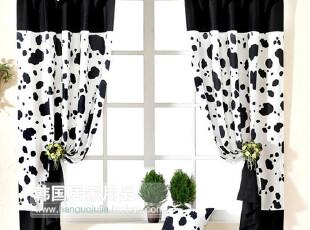 【Asa room】韩国窗帘进口 可爱奶牛纹短款遮光成品窗帘 c010-4,窗帘,