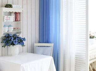 韩国进口代购 蓝色装饰渐变窗帘  窗纱雪纺纱 飘逸窗纱,窗帘,
