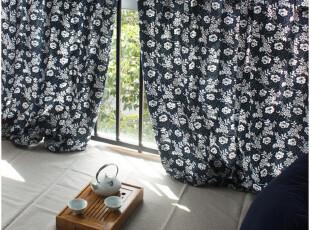 [慢素]青花 。中式地中海乡村风纯棉布窗帘穿杆帘 定做定制,窗帘,