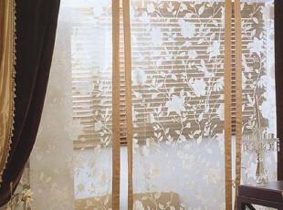 『韩国网站代购』看青山绿水 暖阳融冰日式和风刺绣花枝纱帘|定做,窗帘,