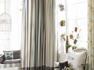 丽贝卡-条纹蓝 简约地中海风情/田园乡村客厅遮光环保棉布/窗帘,窗帘,