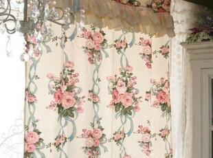 『韩国定做窗帘』K632 英伦风情玫瑰蕾丝木耳边漂亮窗帘,窗帘,