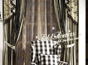 海伦娜系列-黑格 美式乡村风格100%色织棉布窗帘面料/沙发面料,窗帘,