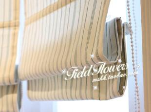 最初的想念 韩式小清新风格小细条纹罗马帘窗帘面料定制,窗帘,