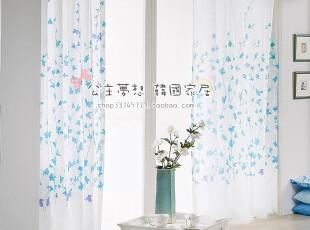 ★公主梦想★韩国家居*在韩国定做*清新蝴蝶草*浪漫纱帘 M1654,窗帘,