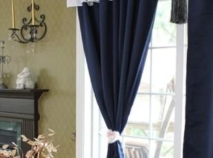 【Asa room】韩国进口代购 藏蓝花边遮光成品客厅卧室窗帘k452-n,窗帘,