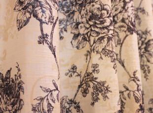 【亚麻艺术】高档天然活性印花棉麻亚麻客厅卧室窗帘-线描牡丹,窗帘,