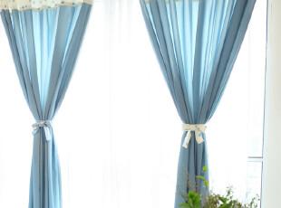 新品预售5天【吉屋】艾伦蓝 窗帘 韩式拼接窗帘 布艺窗帘,窗帘,