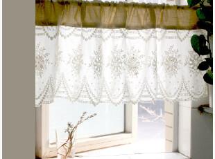 [慢素mansu]慵懒小调。乡村布帘真丝棉蕾丝半帘咖啡帘穿杆帘,窗帘,