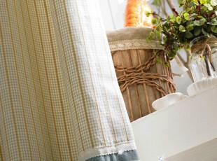微染时光 地中海小清新条纹格子绣淡蓝色 高档纯棉色织窗帘定制,窗帘,