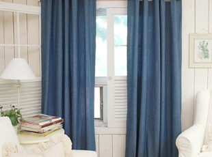 牛仔蓝 &棉质窗帘布艺定制,窗帘,