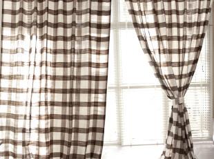 【3米家】简单生活/咖色格子亚麻系列窗帘定制,窗帘,