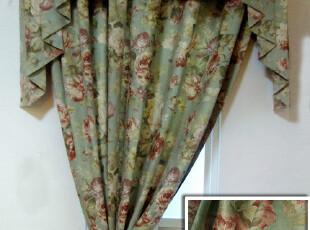格瑞林绿 柔软质地出口欧美田园乡村风格麂皮绒印花面料/窗帘定,窗帘,