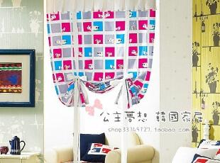 ★公主梦想★韩国家居*在韩国定做*小动物格子窗帘M1639,窗帘,