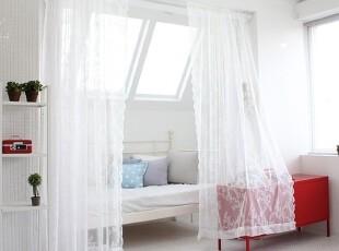 【Asa room】韩国进口代购 白色花朵纱帘成品客厅卧室窗帘k455,窗帘,