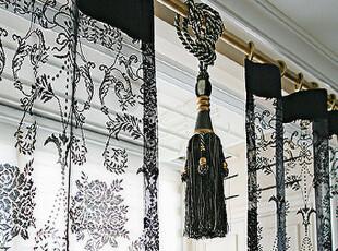 『韩国网站代购』黑色,也可以如此优雅 魅力黑蕾丝纱帘,窗帘,