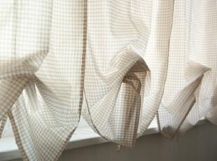 【3米家】格子窗帘  半帘 美式乡村提拉帘/水波帘,窗帘,