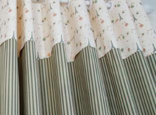 法式小清新复古绿色条纹地中海全棉客厅卧室儿童窗帘 安装实景,窗帘,