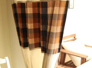 地中海 棉麻色织 格子 窗帘 2片装 【骑士】系列,窗帘,