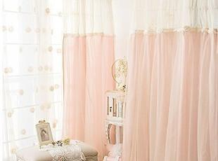「朱朱家园」在韩国定做*明星窗帘-甜美粉色蓬蓬纱双层窗帘ST910,窗帘,