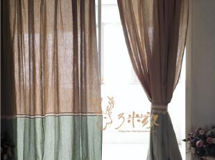 【3米家】拼布棉麻窗帘/窗帘定做/美式做旧绿 麻色拼布窗帘,窗帘,