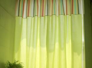 绿麻布拼条纹棉布布 韩式 窗帘 定制 书房 客厅 外贸 高档 特价,窗帘,