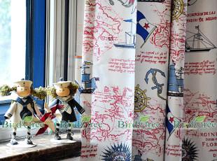 地中海风格/乡村现代混搭高精度印花窗帘定做---小海盗,窗帘,