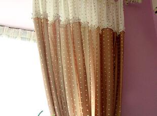 田园风格咖啡点点窗帘定做窗帘--素面赫本2,窗帘,