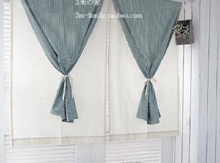 【3米家】韩国窗帘格子窗帘定制乡村风格窗帘定做半帘定制,窗帘,