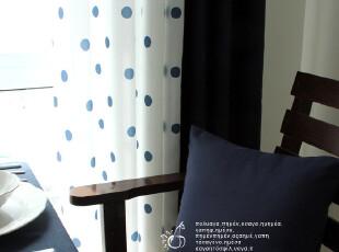 【Beirut】樱庭布艺 圆点 拼接 蓝色 窗帘 卧室  客厅 阳台,窗帘,