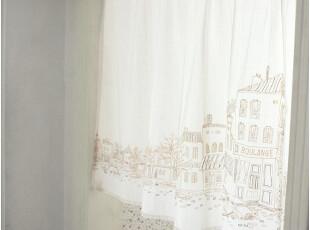 [慢素]巴黎街。日单自然风棉麻窗帘/穿杆帘/门帘/半帘/定制定做,窗帘,