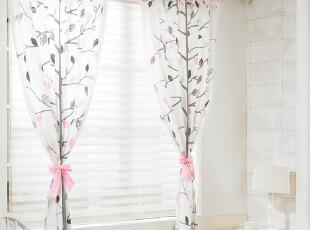 【Asa room】韩国窗帘进口 田园粉色短款成品客厅卧室窗帘 k353-p,窗帘,