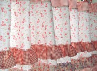 粉色小碎花/田园窗帘/格子/半帘/厨房帘/小窗窗帘/装饰帘,窗帘,