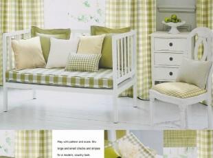 韩式乡村田园 青草绿-格子条纹纯色 高档加厚色织棉 窗帘定做,窗帘,