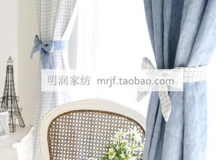 美式乡村/地中海 蓝白格子+牛仔蓝混搭风格 加厚色织棉 订做窗帘,窗帘,