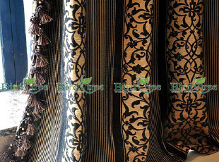 欧式经典别墅首选--华丽的双面绸缎质感雪尼绒条纹花朵窗帘定做,窗帘,