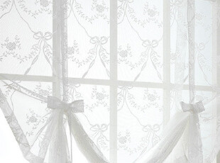 『韩国网站代购』恬静清纯视觉 细腻编织蝴蝶结可升降蕾丝窗帘,窗帘,