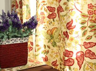 纯棉活性四季布/窗帘 2片装 (K)【檀香】系列(尺寸可定做),窗帘,