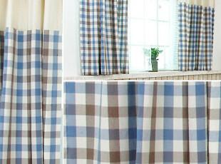 【3米家】乡村棉麻布拼布窗帘/窗帘定做/蓝色格子拼接,窗帘,