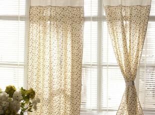 【3米家】静谧花园 碎花棉布拼接棉麻窗帘 韩式窗帘定制,窗帘,