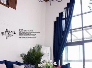 【素布】休颜蓝。亚麻/棉麻客厅/卧室纯色窗帘定制地中海美式乡村,窗帘,