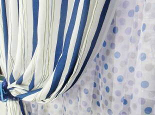 成品窗帘定制蓝色地中海风格客厅卧室阳台窗帘条纹加厚涤棉印花布,窗帘,