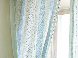 波波布落 韩国蓝色拼布纯棉 布艺窗帘公主简约田园风格定做,窗帘,