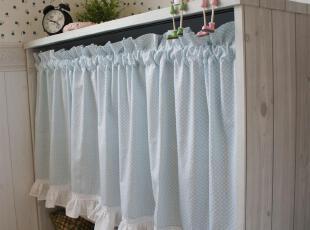 咖啡-奶茶 天蓝波点 蕾丝木耳花边 韩式咖啡帘 半帘 窗帘 布艺帘,窗帘,
