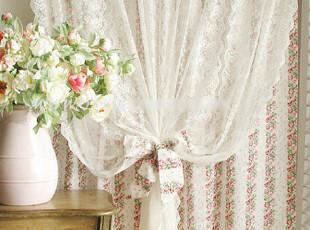 『韩国网站代购』她比烟花烂漫 温柔的棉蕾丝浪漫花稿双层窗帘,窗帘,