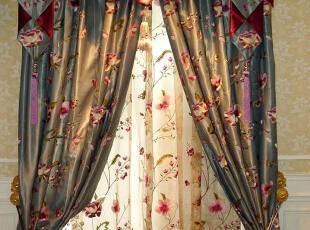窗帘定做/高档窗帘/中式/绣花/客厅/卧室/宝石兰【成都上门安装】,窗帘,