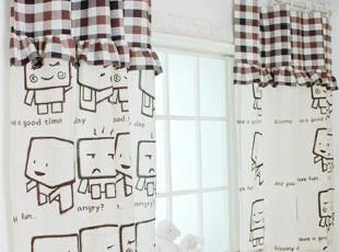 【Asa room】韩国进口代购窗帘短款 卡通格子纹儿童可定做c180-sk,窗帘,