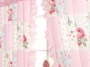 『韩国进口代购』A597 公主粉色田园碎花格子木耳边窗帘,窗帘,