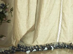 【3米家】河流之蓝 乡村窗帘定制  蓝格子木耳边 对开窗帘定做,窗帘,